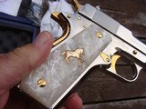 Colt 1911 Series 80 Nickel 38 Super Very Unique with factory gold accents and factory engraved scorpions MUST SEE - 7 of 7