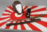 Japanese Wakizashi Pilots Sword, Leather Flying Hat, Flag