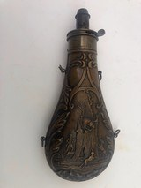 Large Antique Powder Flask Depicting 3 Dogs and A Man Hunting Bear In Hollow Tree
