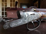 """Auguste Francotte Best PAIR - 12ga - Hand Detachable Sidelock - 27"""" - Chokes IC/IM - LNIC - Leather Maker's Case & Cover - MAGNIFICENTLY Engraved!!"""