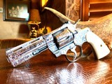 "Colt Python .357 Magnum - Master Engraver Robert Valade - 4"" - Nickel -Deep Western Scroll Engraving - Like New"