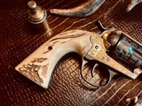 """Colt SAA 1st Generation Bisley Cole Agee Style Cattlebrand engraved - .38 Special - Colt Letter - 5 1/2"""" - Staghorn Grips - Y.O.Ranch Schreiner! - 9 of 25"""