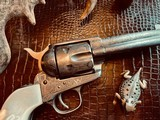 """Colt Model 1873 SAA - 45 LC - Cole Agee Style """"Cattle Brand"""" Engraved - Silver Plated - Mother of Pearl Stocks/Grips - 18 of 25"""