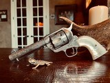 """Colt Model 1873 SAA - 45 LC - Cole Agee Style """"Cattle Brand"""" Engraved - Silver Plated - Mother of Pearl Stocks/Grips - 6 of 25"""