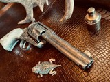 """Colt Model 1873 SAA - 45 LC - Cole Agee Style """"Cattle Brand"""" Engraved - Silver Plated - Mother of Pearl Stocks/Grips - 21 of 25"""
