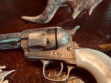 """Colt Model 1873 SAA - 45 LC - Cole Agee Style """"Cattle Brand"""" Engraved - Silver Plated - Mother of Pearl Stocks/Grips - 12 of 25"""