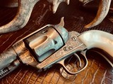 """Colt Model 1873 SAA - 45 LC - Cole Agee Style """"Cattle Brand"""" Engraved - Silver Plated - Mother of Pearl Stocks/Grips - 16 of 25"""