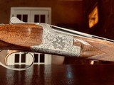 """Browning Superposed Superlight Diana - 410ga - 26.5"""" - ca. 1976 - Original Browning Box - Feathercrotch Walnut - Lewancyk Engraved Signed Twice - 7 of 25"""