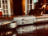 """Browning Superlight Gold Classic - 20ga - IC/M - 26.5"""" - Beaded & Carved Checkering - Collaboratively Engraved by Blues and J. Pirotte - 13 of 25"""