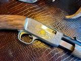 Browning Trombone Rimfire - .22LR - Angelo Bee Upgrade - Ultra Deep Relief Engraving - Predator Small Game Scene - Ornate Scroll - 99% - 15 of 24
