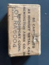 Remington 22 hornet ammo, original Metal box, vintage pilot survival M$ rifle ammo, sealed box,