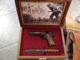 Browning 1911/22 100 year Commemorative,in case,with knife,gold engraved,22lr,4
