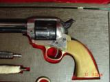 """EMF Dakota 1873 Colt SAA replica 45 LC,7 1/2"""",factory engraved,brass grip frame,Jager-Italy,fitted case - 2 of 12"""