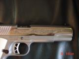 Ruger SR1911, 1 of 300,mirror polished stainless,45 acp,scroll engraved,gold outline,custom grips,& 14 words on the slide,2 mags box etc. - 5 of 12