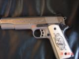 Ruger SR1911, 1 of 300,mirror polished stainless,45 acp,scroll engraved,gold outline,custom grips,& 14 words on the slide,2 mags box etc. - 2 of 12