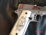 Ruger SR1911, 1 of 300,mirror polished stainless,45 acp,scroll engraved,gold outline,custom grips,& 14 words on the slide,2 mags box etc. - 6 of 12
