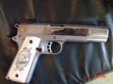 Ruger SR1911, 1 of 300,mirror polished stainless,45 acp,scroll engraved,gold outline,custom grips,& 14 words on the slide,2 mags box etc. - 1 of 12