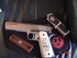 Ruger SR1911, 1 of 300,mirror polished stainless,45 acp,scroll engraved,gold outline,custom grips,& 14 words on the slide,2 mags box etc. - 7 of 12