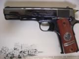 Colt 1911,World War 1 Series,4 gun set,all the same serial #2412,all engraved,in shadow boxes,unfired,custom grips,45acp,made in 1968,45 years old !! - 8 of 12