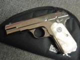 Colt 1903 Hammerless 32 caliber,fully refinished in 2014,in high gloss bright nickel,& matt nickel,1939,75 years old,Pearlite grips,awesome showpiece- 8 of 12