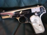 Colt 1903 Hammerless 32 caliber,fully refinished in 2014,in high gloss bright nickel,& matt nickel,1939,75 years old,Pearlite grips,awesome showpiece- 3 of 12