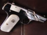Colt 1903 Hammerless 32 caliber,fully refinished in 2014,in high gloss bright nickel,& matt nickel,1939,75 years old,Pearlite grips,awesome showpiece- 6 of 12