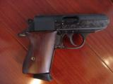 Walther PPK,75th Anniversary,LTD Edition,scroll engraved,gold accents,walnut grips,wood & glass case,all papers,1 mag,looks unfired-super nice !! - 9 of 12