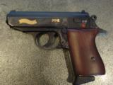 Walther PPK,75th Anniversary,LTD Edition,scroll engraved,gold accents,walnut grips,wood & glass case,all papers,1 mag,looks unfired-super nice !! - 3 of 12