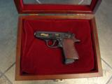 Walther PPK,75th Anniversary,LTD Edition,scroll engraved,gold accents,walnut grips,wood & glass case,all papers,1 mag,looks unfired-super nice !! - 1 of 12