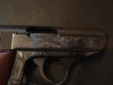 Walther PPK,75th Anniversary,LTD Edition,scroll engraved,gold accents,walnut grips,wood & glass case,all papers,1 mag,looks unfired-super nice !! - 7 of 12