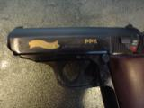 Walther PPK,75th Anniversary,LTD Edition,scroll engraved,gold accents,walnut grips,wood & glass case,all papers,1 mag,looks unfired-super nice !! - 4 of 12