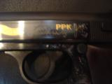 Walther PPK,75th Anniversary,LTD Edition,scroll engraved,gold accents,walnut grips,wood & glass case,all papers,1 mag,looks unfired-super nice !! - 6 of 12