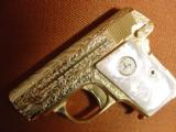 Colt 1908 Vest Pocket 25acp,100%+ master engraved by Jeff Flannery,24K plated,Pearlite grips,hammerless,a work of art,grip safety,made in 1918 !! - 12 of 12