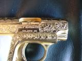 Colt 1908 Vest Pocket 25acp,100%+ master engraved by Jeff Flannery,24K plated,Pearlite grips,hammerless,a work of art,grip safety,made in 1918 !! - 5 of 12