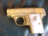 Colt 1908 Vest Pocket 25acp,100%+ master engraved by Jeff Flannery,24K plated,Pearlite grips,hammerless,a work of art,grip safety,made in 1918 !! - 1 of 12