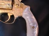 Smith & Wesson model 36 no dash,24K plated,fully 100%+ master engraved by Flannery,real MOP grips,38 spl,1 3/4