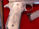 Colt Gold Cup National match 45,& Colt Ace 22lr kit,master engraved by Clint Finley,scrimshaw ivory grips,nickel,in wood case,a masterpiece - 2 of 12