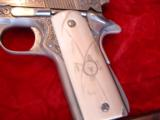 Colt Gold Cup National match 45,& Colt Ace 22lr kit,master engraved by Clint Finley,scrimshaw ivory grips,nickel,in wood case,a masterpiece - 7 of 12
