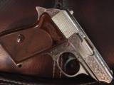 Walther PPK deep scroll engraved,nickel,9mm short/380 auto,around 50 years old,original box,2 mags,target & manual-awesome !! - 2 of 15
