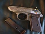 Walther PPK deep scroll engraved,nickel,9mm short/380 auto,around 50 years old,original box,2 mags,target & manual-awesome !! - 8 of 15