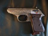 Walther PPK deep scroll engraved,nickel,9mm short/380 auto,around 50 years old,original box,2 mags,target & manual-awesome !! - 3 of 15