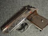 Walther PPK deep scroll engraved,nickel,9mm short/380 auto,around 50 years old,original box,2 mags,target & manual-awesome !! - 14 of 15