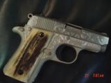 Colt Mustang Pocketlite 380,scroll engraved,real stag grips,holster,2 mags,Colt box & manual,original grips,Nickel/Stainless,a work of art !! - 4 of 15