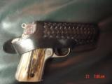 Colt Mustang Pocketlite 380,scroll engraved,real stag grips,holster,2 mags,Colt box & manual,original grips,Nickel/Stainless,a work of art !! - 10 of 15