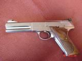 Colt Woodsman Match Target,1972,fully refinished in bright mirror nickel,22LR,heavy barrel,custom wood grips,adj site,awesome 1 of a kind showpiece !! - 7 of 15