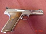 Colt Woodsman Match Target,1972,fully refinished in bright mirror nickel,22LR,heavy barrel,custom wood grips,adj site,awesome 1 of a kind showpiece !! - 6 of 15