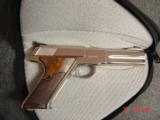 Colt Woodsman Match Target,1972,fully refinished in bright mirror nickel,22LR,heavy barrel,custom wood grips,adj site,awesome 1 of a kind showpiece !! - 13 of 15