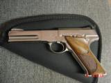 Colt Woodsman Match Target,1972,fully refinished in bright mirror nickel,22LR,heavy barrel,custom wood grips,adj site,awesome 1 of a kind showpiece !! - 12 of 15