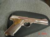 Colt Woodsman Match Target,1972,fully refinished in bright mirror nickel,22LR,heavy barrel,custom wood grips,adj site,awesome 1 of a kind showpiece !! - 11 of 15