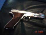 Colt Woodsman Match Target,1972,fully refinished in bright mirror nickel,22LR,heavy barrel,custom wood grips,adj site,awesome 1 of a kind showpiece !! - 2 of 15